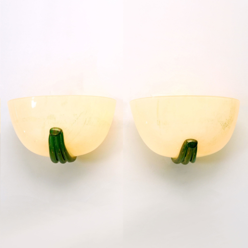 Pair Buzzi Wall Lights Green Glass 01
