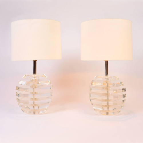 Pair Lucite Ball Lamps 01
