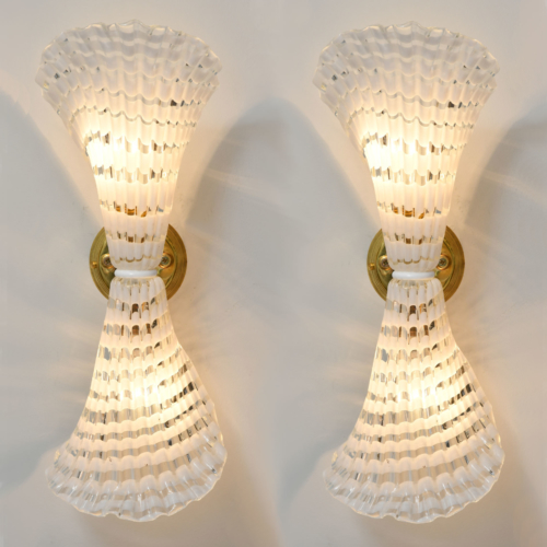 Pair Murano Glass Striped Wall Lights 01