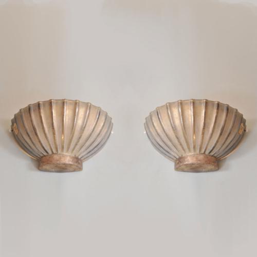 Pair Seguso Scallop Lights 01 Vw