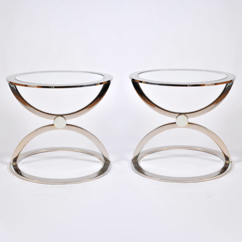 Pair Us Chrome Circular Sidetables 01