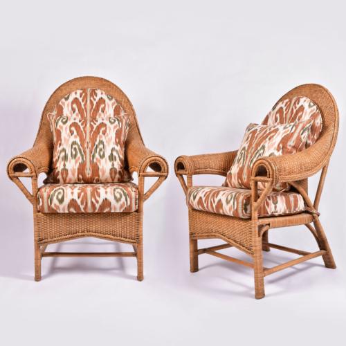 Pair Us Wicker Armchairs 01