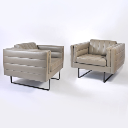 Pair Grey Leather Armchairs 01