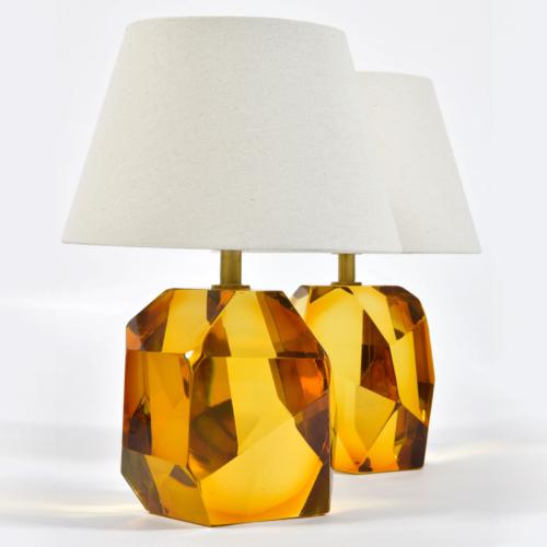 Pair Of Amber Rock Lamps 03
