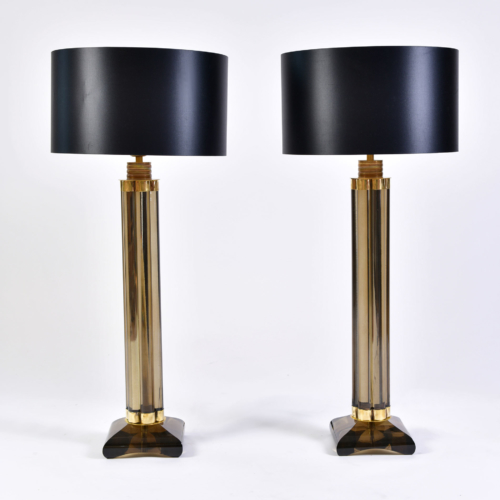 Pair Smoked Column Lamps 01