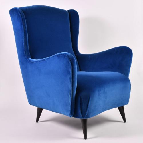 Paolo Buffa Blue Velvet Armchair 01