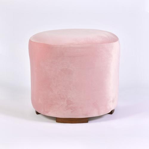 Pink Velvet Circular Stool 01