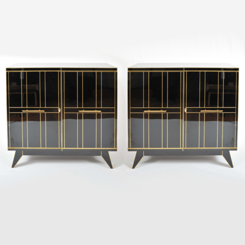 Valerie Wade 0621 Pair 1970S Italian Black Glass Cabinets 01