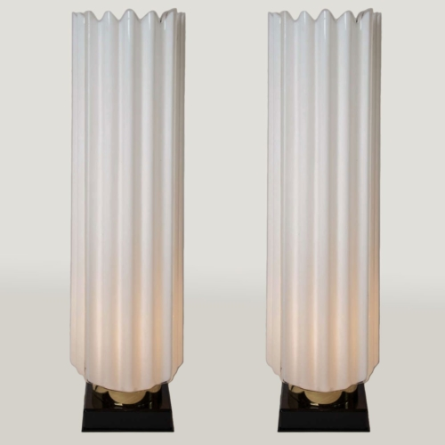 Valerie Wade Lt271 Pair 1970S Fluted Lamps Rougier 01
