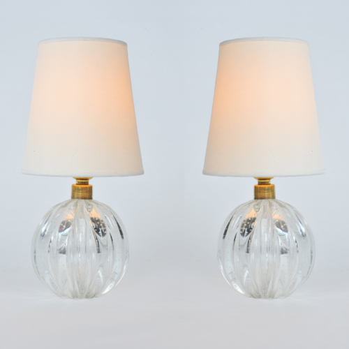 Valerie Wade Lt648 Pair 1950S Clear Murano Ball Lamps 01