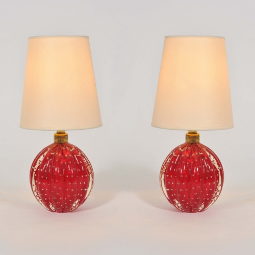 Valerie Wade Lt668 Pair 1950S Red Murano Ball Lamps 01