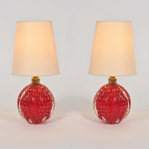 Valerie Wade Lt668 Pair 1950S Red Murano Ball Lamps 01
