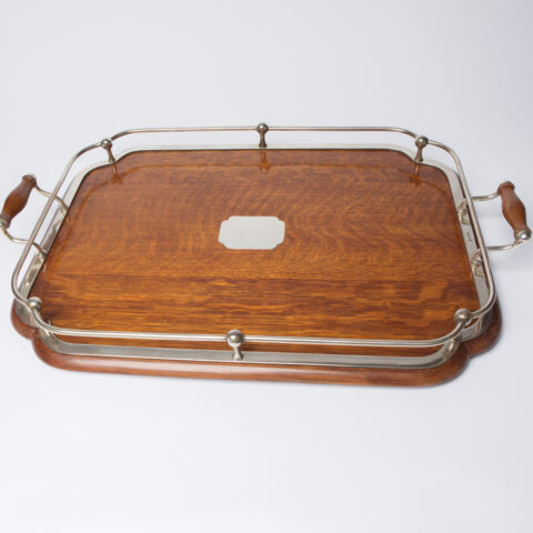 1900S Silver Plate And Wood Tray 6