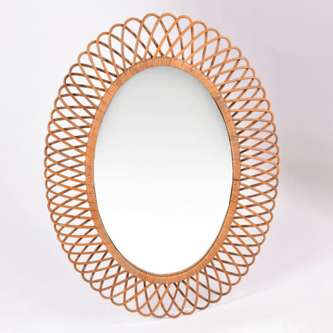 Albini Wicker Oval Mirror 01