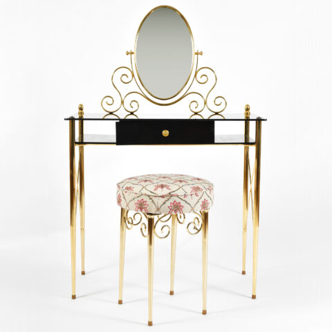 Black Glass And Brass Dressing Table 01