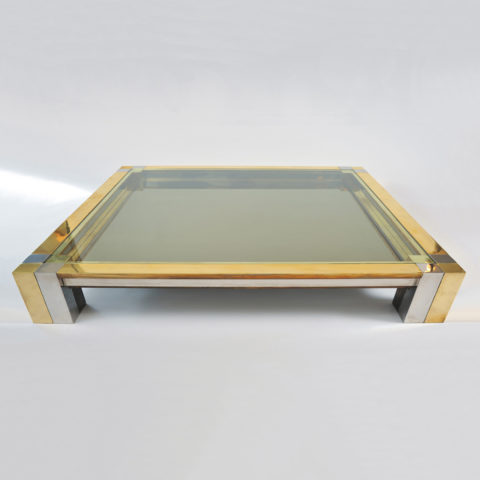 Brass Chrome Coffee Table 01 Vw