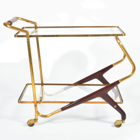 Brass And Mahogany Trolley 01