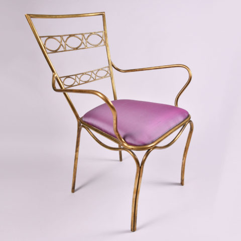 Brass Chair Purple Upholstered Seat 01