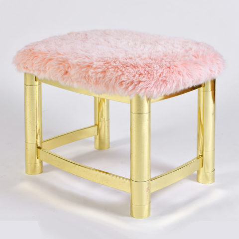 Fluffy Pink Brass Stool 01
