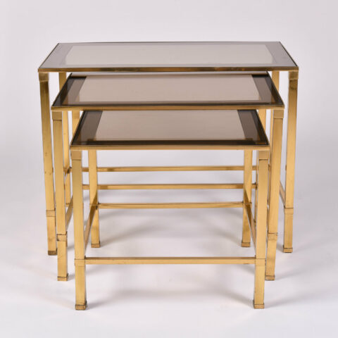Italian Nest Brass Side Tables 01