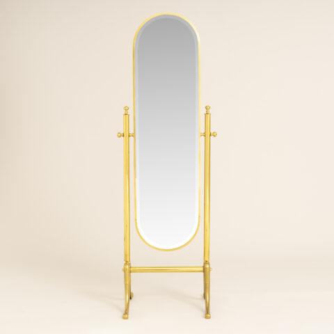 Italian Brass Floor Mirror 0276
