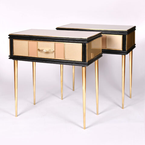 Pair 1960S Gold Bedside Tables 02