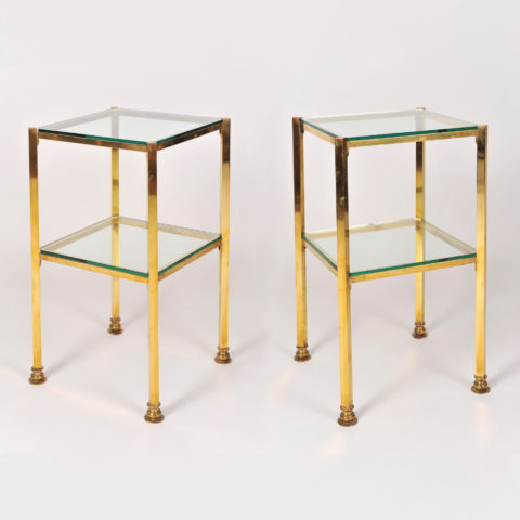 Pair Brass Side Tables 01