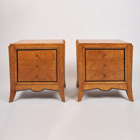 Pair Burr Walnut Bedside Tables 001 Vw