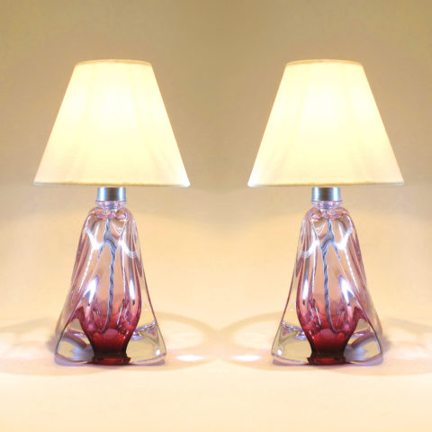 Pair Cranberry Lamps 01