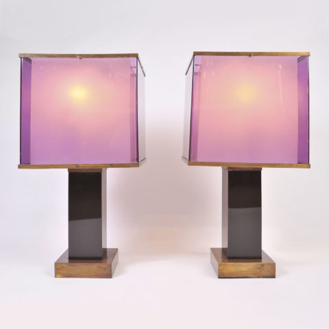 Pair Double Perspex Shade Lamps 01