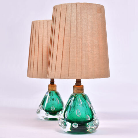 Pair Emerald Green Murano Lamps 01