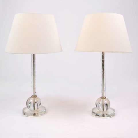 Pair Etched Glass Lamps 01