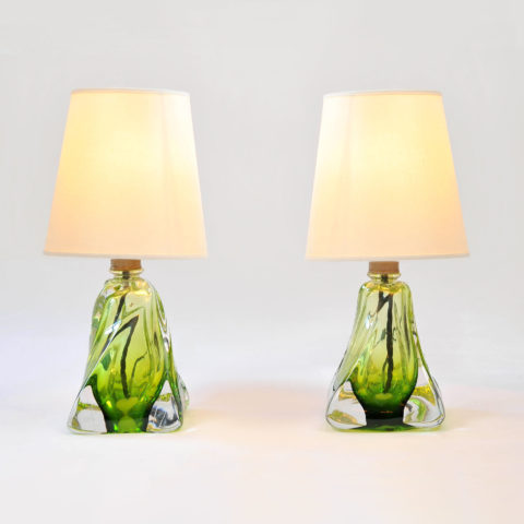 Pair Green Glasss Lamps 01