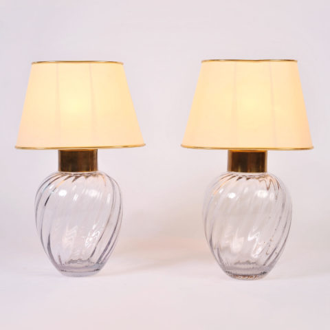 Pair Italian Glass Lamps 01