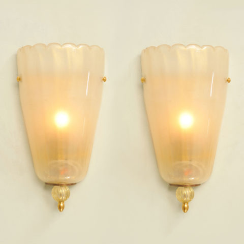 Pair Italian Murano Wall Lights 01