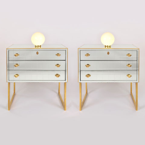 Pair Mirrored Bedsides 01