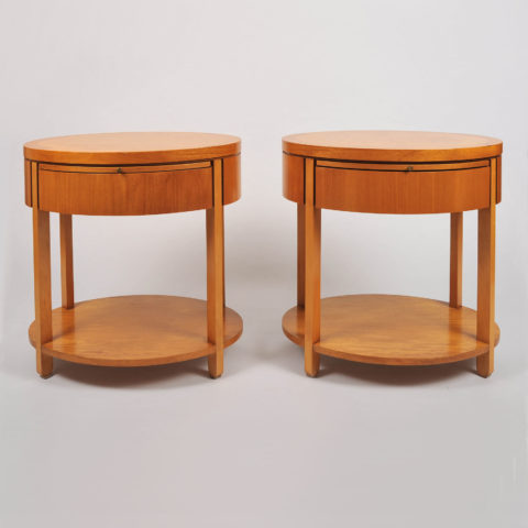Pair Oval Bedside Tables 001 Vw