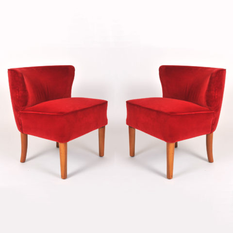 Pair Red Velvet Chairs 01