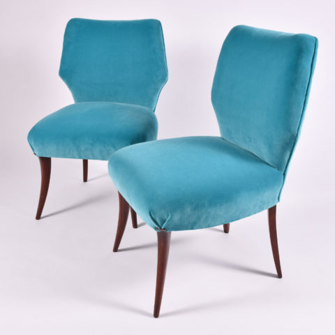 Pair Turquoise Velvet Chairs 01