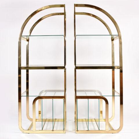Pair Us Brass Display Shelves 01