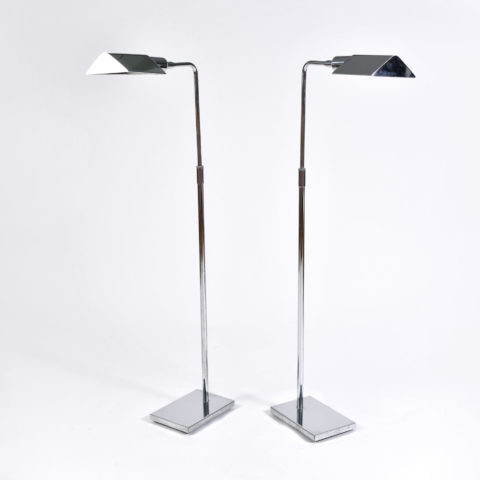 Pair Chrome Standard Lamps 01
