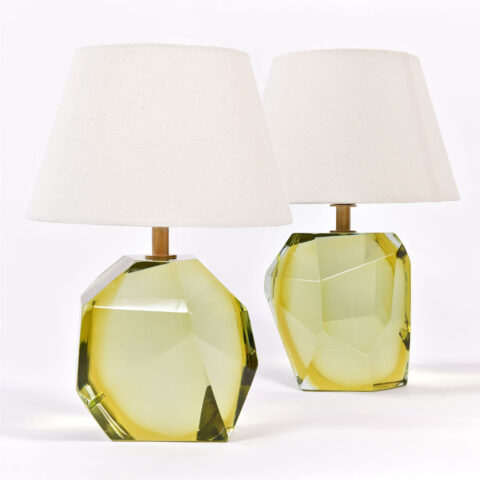 Pair Citrine Rock Lamps 01