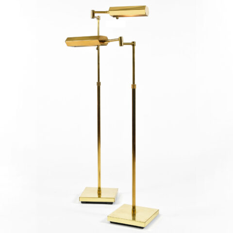 Pair Mid Century Brass Floor Lamps 01