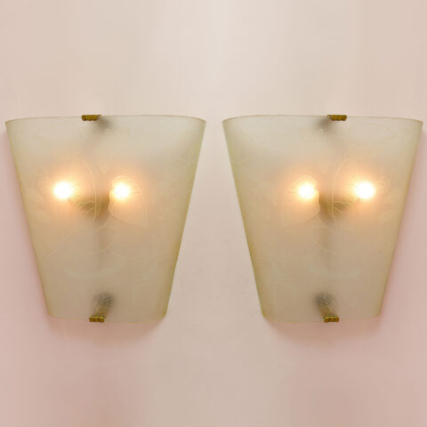 Pair Of Etched Glass Wall Lights 01