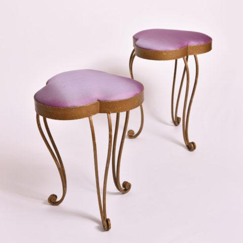 Pair Purple Gilded Stools 01