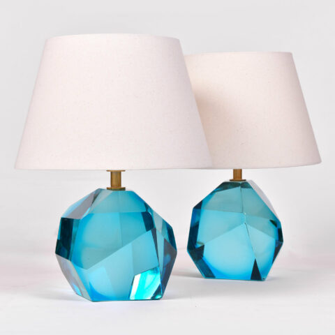 Pair Turquoise Rock Lamps 01