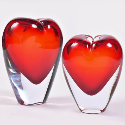 Two Murano Glass Heart Vases 01