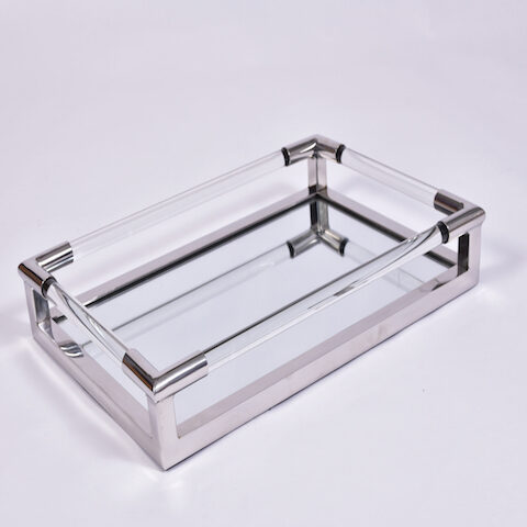 Us Chrome Lucite Rectangular Tray 1