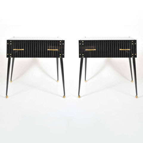 Valerie Wade Fc623 Pair 1970S Italian Black Glass Side Tables 01
