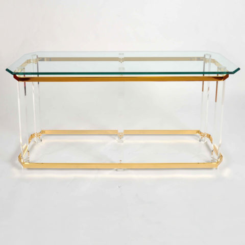 Valerie Wade Ft586 1970S Us Lucite Brass Console Table 01